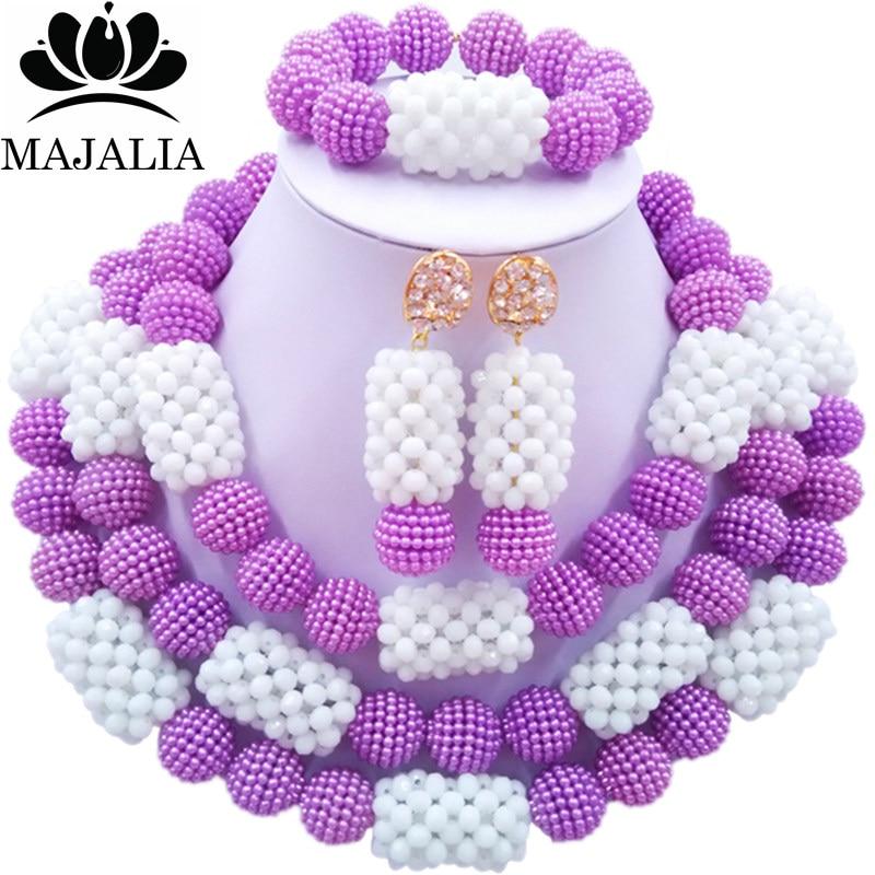 Majalia Classic Fashion Nigerian Wedding African Jewelery Set Purple and White Crystal Necklace Bride Jewelry Sets 3SZ017