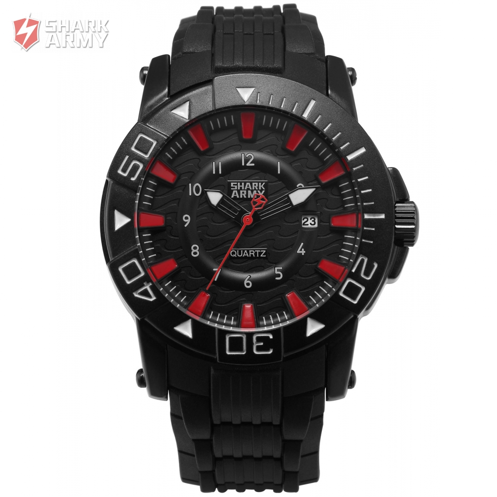 Voodoo II SHARK ARMY Black Red Gents Outdoor Sport 12Hrs Analog Date Function Rubber Strap Quartz Wrist Military Watches /SAW211 voodoo ii shark army auto date black silicone strap military wristwatch sports clock men military quartz wrist watches saw177