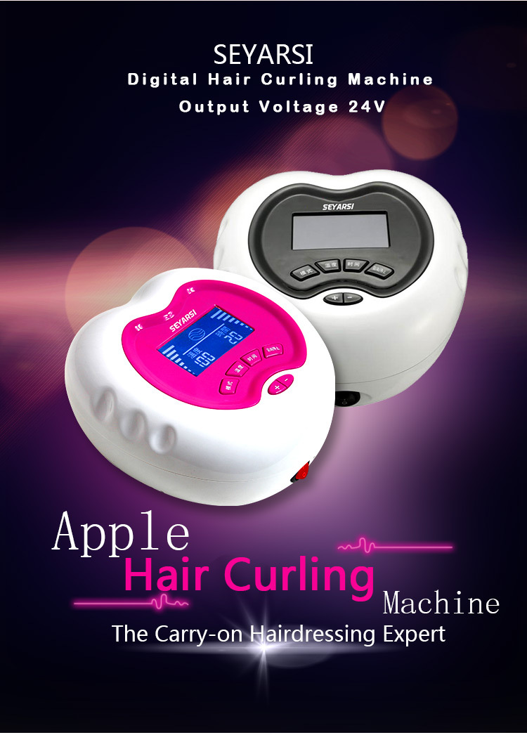 """Aukštos kokybės mini plaukų garbanojimo mašinų salonas """"Plaukų formavimo mašina"""" """"Apple"""" formos nešiojamasis plaukų garbanojimo aparatas yra rožinės spalvos"""