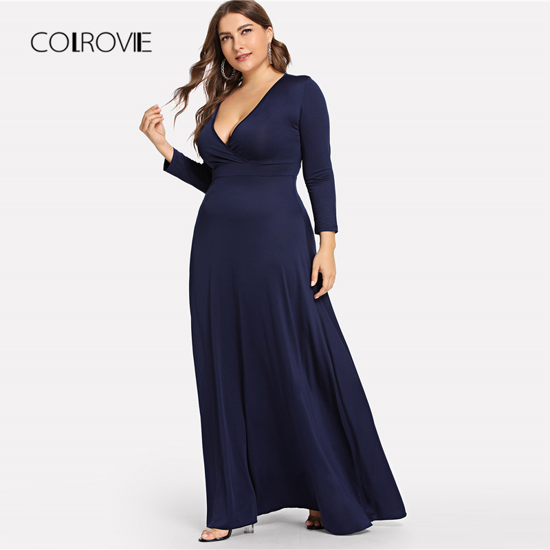 ccd61eb27fbe6 COLROVIE Plus Size Navy Solid Deep V Neck Party Dress Women 2018 A...