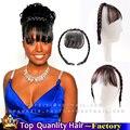 Бразильский Афро-Американских Чернокожих Женщин Сексуальное Короткое Бахромой Челка с косой Передняя Клип В Наращивание Волос Клип На Bangs Парики