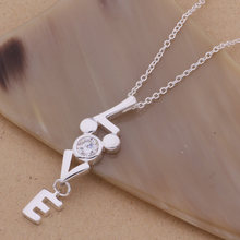 AN104 Hot 925 sterling silver Necklace 925 silver fashion jewelry pendant love inlaid stone /ggeaoxla aksajbza(China)
