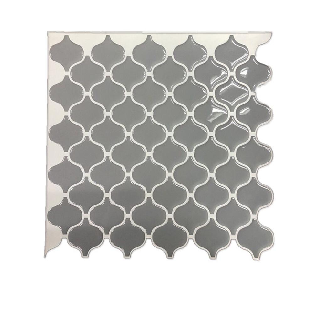 Grey Arabesque Moroccan Tile Self Adhesive Backsplash 3D