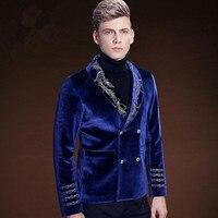 Роскошные Пром вышивка блейзеры Для мужчин свадебные Slim Fit костюмы куртка синий мужской смокинг Бизнес вечерние Жених Мода блейзеры
