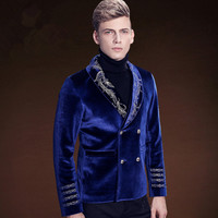 Luxury Prom Embroidery Suits Blazers Men Wedding Slim Fit Suits Jacket Blue Male Tuxedos Business Party Groom Fashion Blazers