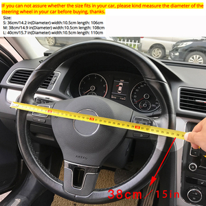 Image 2 - PU Leather Steering Covers 36/38/40CM DIY Car Steering Wheel Cover Soft Leather Braid Design With Needle and Thread Interior Kit