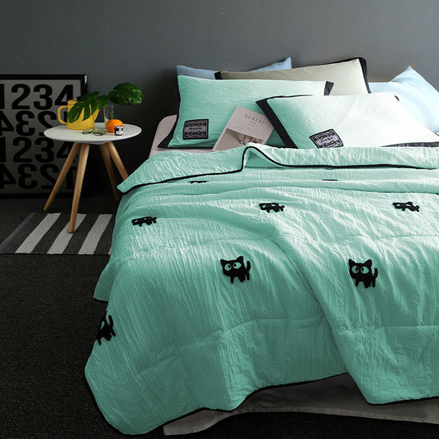 Cartoon Cat Embroider Summer Quilts Washing Sanding Pillowcase