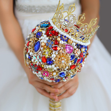Luxurious Crystal Rhinestones Bride Bouquet Royal Wedding Bride Bouquet Red Blue Gold Crown Colourful Jewelry Wedding Bouquet
