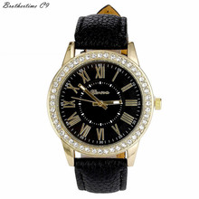 Brothertime C9 New Arrival Geneva Women's Leather Band Roman Rhinestone Quartz Wrist Watch Dress Watches #-090 Free shipping