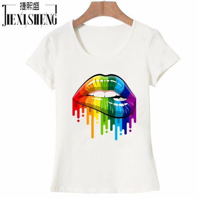 חדש נשים קיץ חולצות Tees סקסי שפתי צבע צבוע t חולצת כותנה קצר שרוול מותג אופנה עגול צוואר חולצת טי HH240