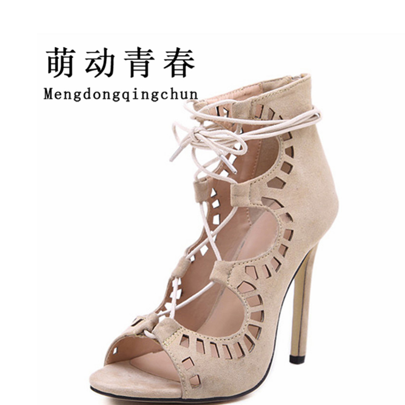 Women Sandals Brand Designer Gladiator High Heels Sexy Open Toe Cut Outs Women Shoes Lace Up Shoes Woman Pumps Sandalias Mujer sexy open toe cut outs high heels women gladiator sandals black leather lace up thigh high boots woman botas size 35 43