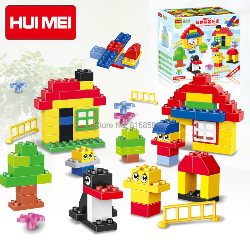 Original HUIMEI 100pcs Basic Classic Building Blocks Bricks Baby First Blocks Educational Kids Toys Compatible with