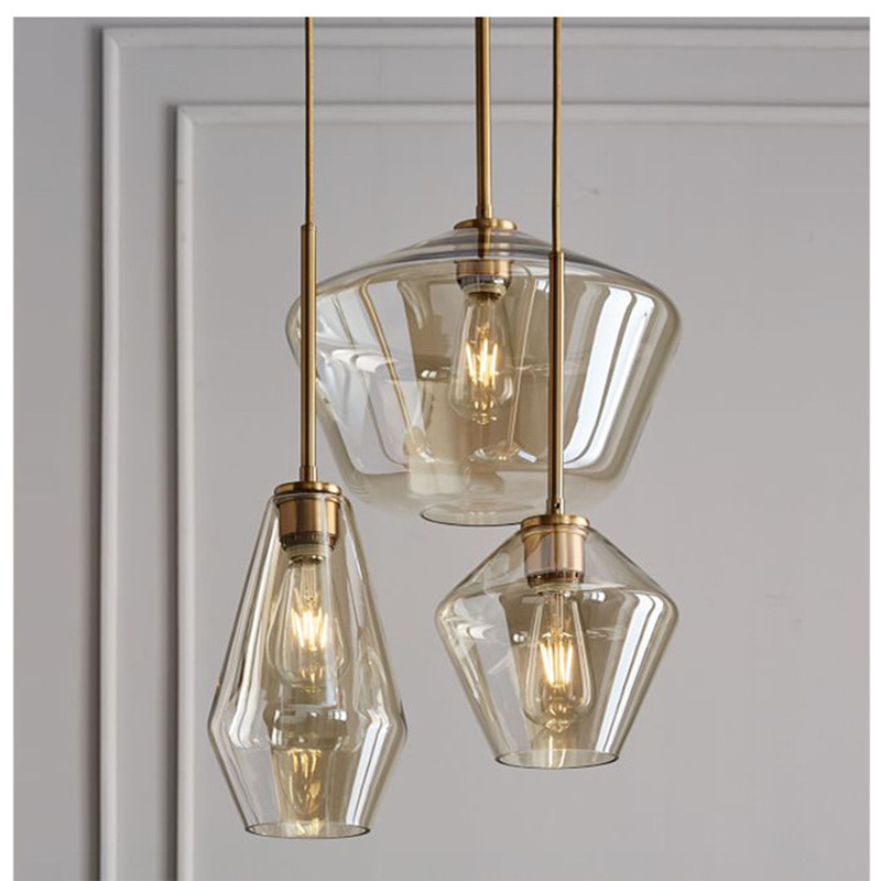 Nordic Loft Retro Dinner Glass Chandelier Concise Glass Living Hanging Lights Vintage Bar Study Aisle Light