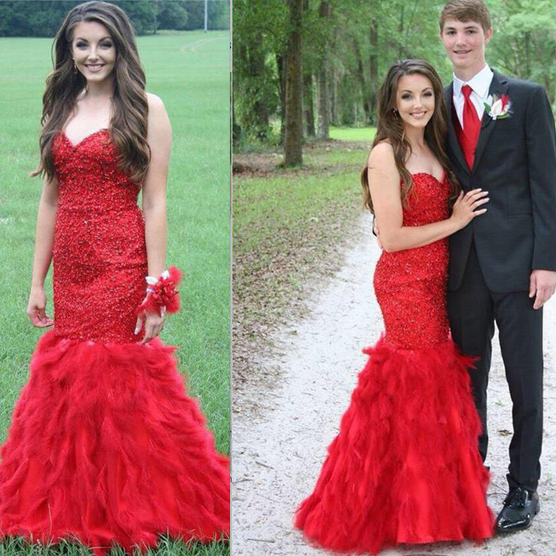 Aliexpress Com Red Prom Dress Strapless Sweetheart Beaded Bodice Mermaid Feathers Sweep Train 2016 New China Custom Made Formal From