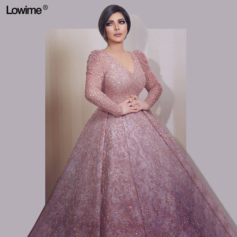 Plus Size Sparkly Muslim Evening Dresses A-Line With Long Sleeves Dubai  Turkish V-Neck Evening Gowns