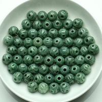10pcs Wholesale Chinese Natural Aqua Green Jade Jadeite Hollow Round Loose Bead 9.5x10mm