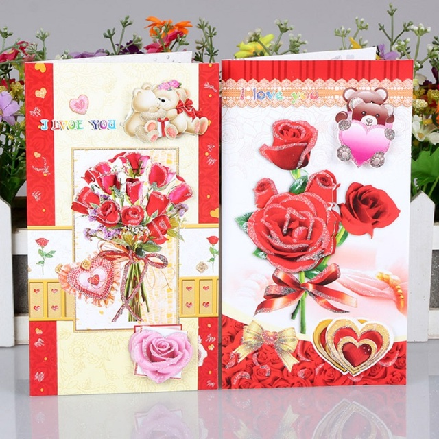 10pcs Red Greeting Card Beautiful Flowers Female Birthday Card Party