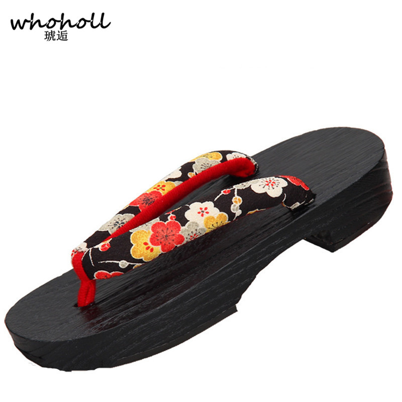 Women flip-flops 2017 women sandals wooden clogs pinch Japanese geta Shoes Cosplay costumes shoes animation props Paulownia