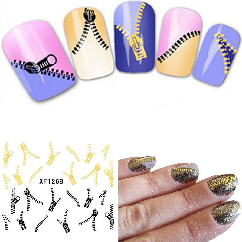 Fashion japan style1 Sheets 3D Design cute DIY watermark zipper Tip Nail Art Nail Sticker Nails Decal Manicure nail tools XF1268 yzwle 3d french style white lace bow nail art sticker decal manicure tip nail art decoration xf ju079