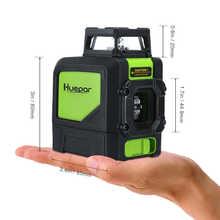 Huepar Laser Level Green Beam Cross Laser Self-leveling 360-Degree with 2 Pluse Modes+Huepar Digital LCD Laser Receiver Detector