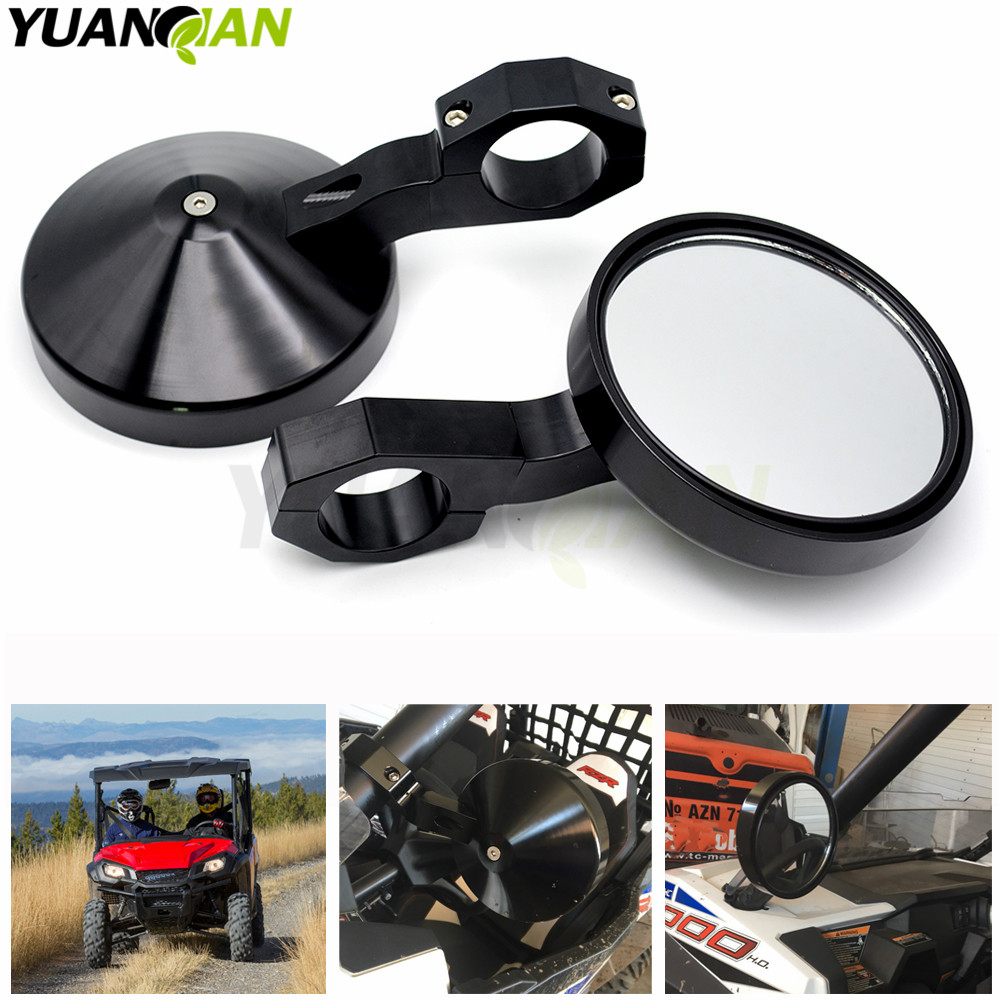 Adjustable 2 Heavy Duty Round Sport Mirror for Polaris Ranger and RZR and RZR S and XP Perimeter for Can Am Commander cage adjustable 2 heavy duty round sport mirror for polaris rzr xp1000 and xp4 rzr 4 rzr s 1000 for yamaha viking and viking 6