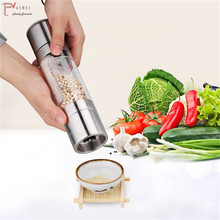 2 in 1 Stainless Steel Salt & Pepper Manual Grinder Mill Spice Grinding for Kitchen Cooking Tools Accessories seasoning bottle stainless steel pepper mill manual salt grinder muller kitchen accessories solid condiment grinding bottle kitchen gadgets