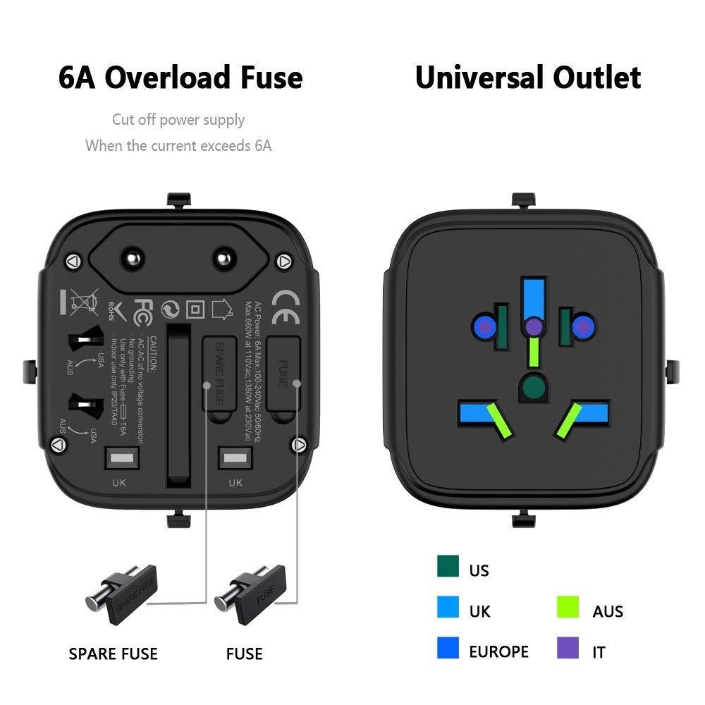 geekoplanet.com - All-In-One International Travel Plug Adapter with USB Ports US/EU/AU/UK