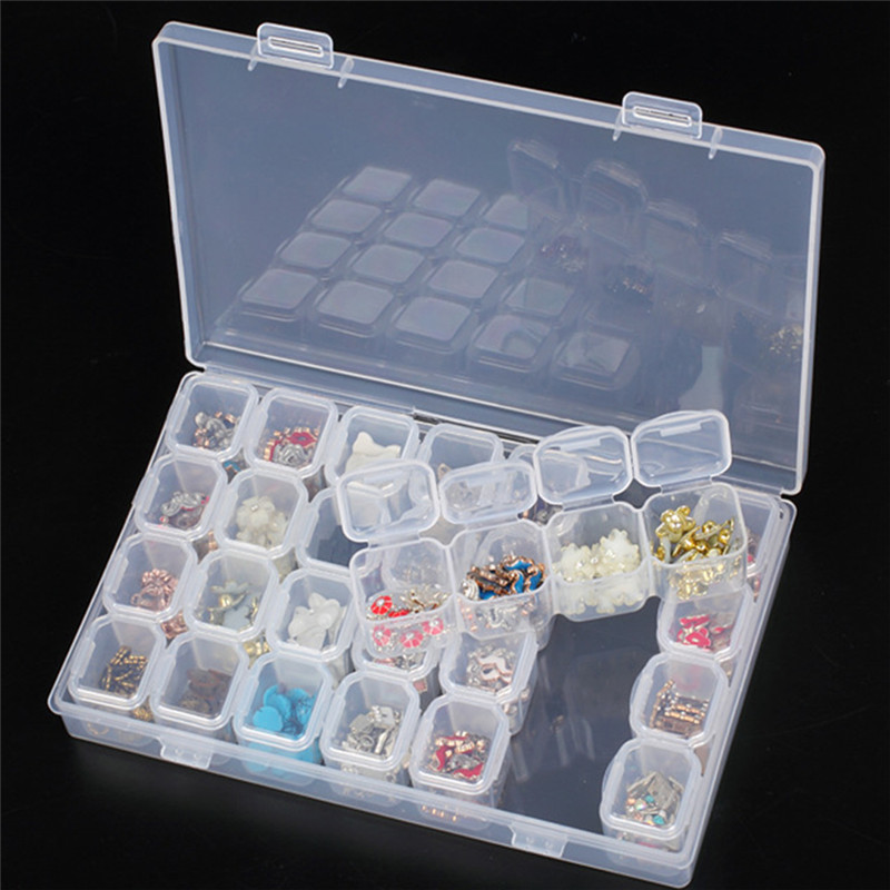 New Arrive 28 Slots Embroidery Box Cross-Stitch Painting Storage Accessories Organize Adjustable Jewelry Diamond Craft Beads Hot