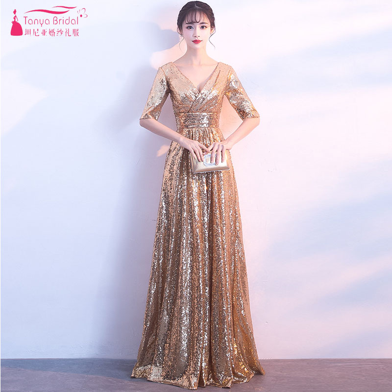 vestido de madrinha de casamento longo 2018 New Sexy V Neck Half sleeve a Line gold   bridesmaid     dress   ZB075