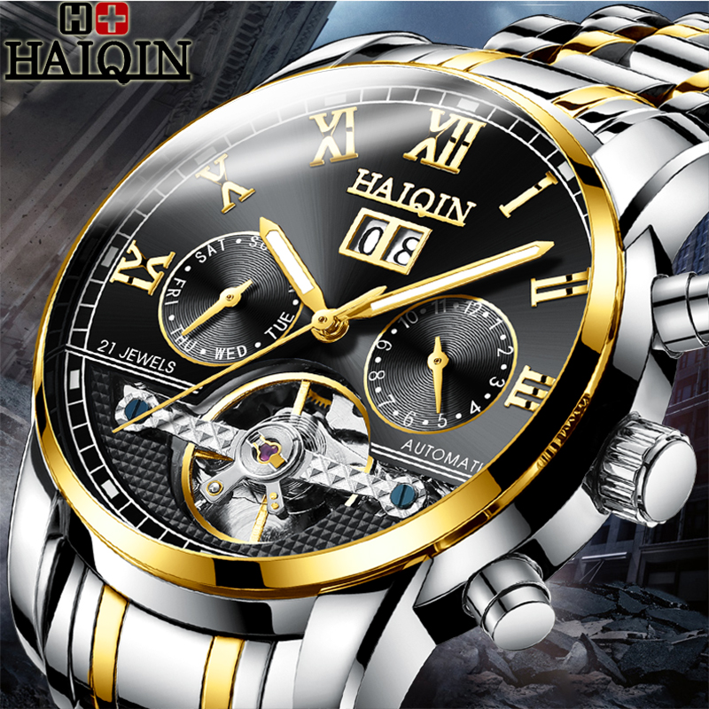 HAIQIN Men Watch 2019 Top Brand Automatic Mechanical Bussiness Watch Men Military Waterproof Fashion Sport Clock Reloj Hombre   HAIQIN Men Watch 2019 Top Brand Automatic Mechanical Bussiness Watch Men Military Waterproof Fashion Sport Clock Reloj Hombre