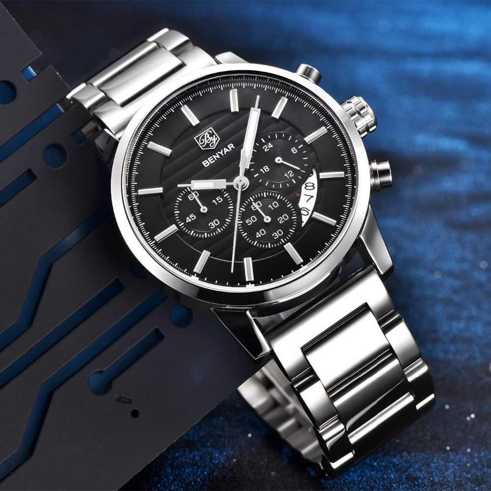 8daccd7b0c84 ... BENYAR Hombres Relojes de Primeras Marcas de Lujo de Negocios A Prueba  de agua Deporte Cronógrafo ...