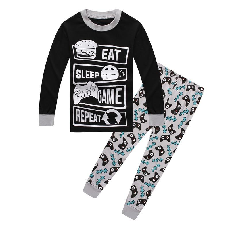 Boys Eat Game Sleep Controller Long Pajamas Kids Fortnight Sleepwear Pyjamas Children Christmas Pijamas Home Clothing For Boys
