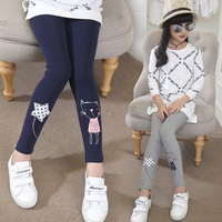 2017 New Children Girls Cotton Leggings Cute Cat Cartoon Character Trousers Students Skinny Pants Kids Clothing