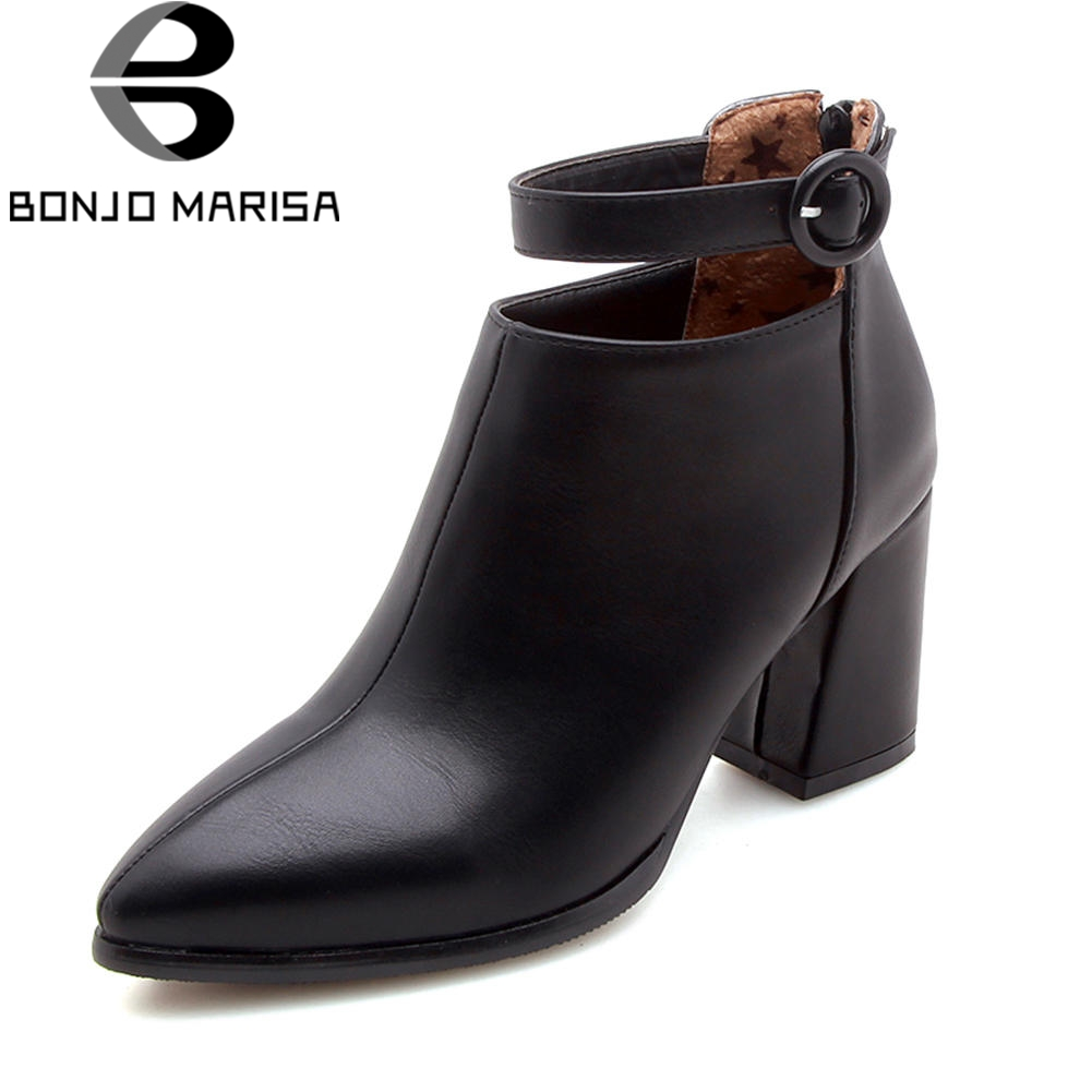 BONJOMARISA Plus Size 32-47 Black 7.5 Cm High Heels Ankle Boots Women Autumn 2019 New Mature Pointed Toe Shoes Woman ElegantBONJOMARISA Plus Size 32-47 Black 7.5 Cm High Heels Ankle Boots Women Autumn 2019 New Mature Pointed Toe Shoes Woman Elegant