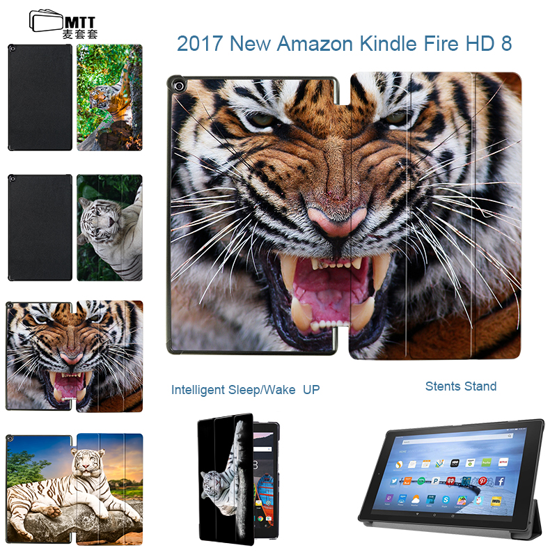 MTT Print Tiger For Amazon Kindle Fire HD 8 2017 Tablet Case PU Leather Stand Tablet Funda Case Cover for 2017 Amazon Kindle 8'' ocube 50pcs lot tri foldings print painting stand pu leather case cover for amazon kindle fire hd 7 2017 7tablet