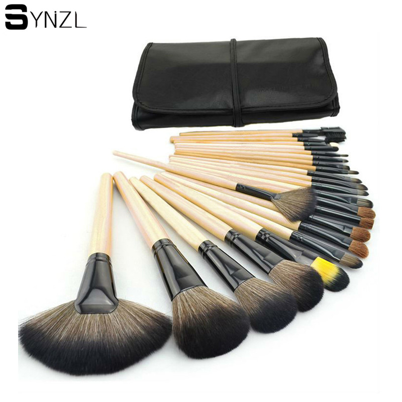 Professional 24 pcs Makeup Brushes Set wood handle big powder blush eye shadow eyebrow eyeliner Make up Brushes with Case professional make up 144 color eye shadow 3 color blush 3 color eyebrow powder makeup set box