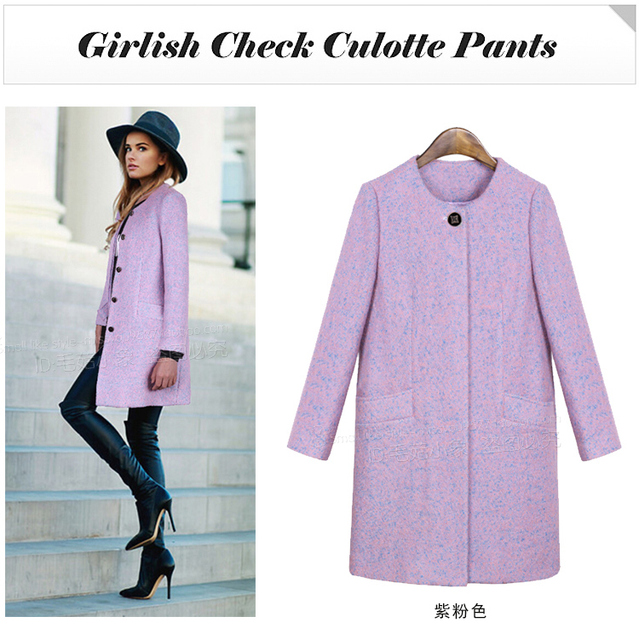 2014 autumn and winter european and american style wool and blends coat medium long single breasted women pink slim