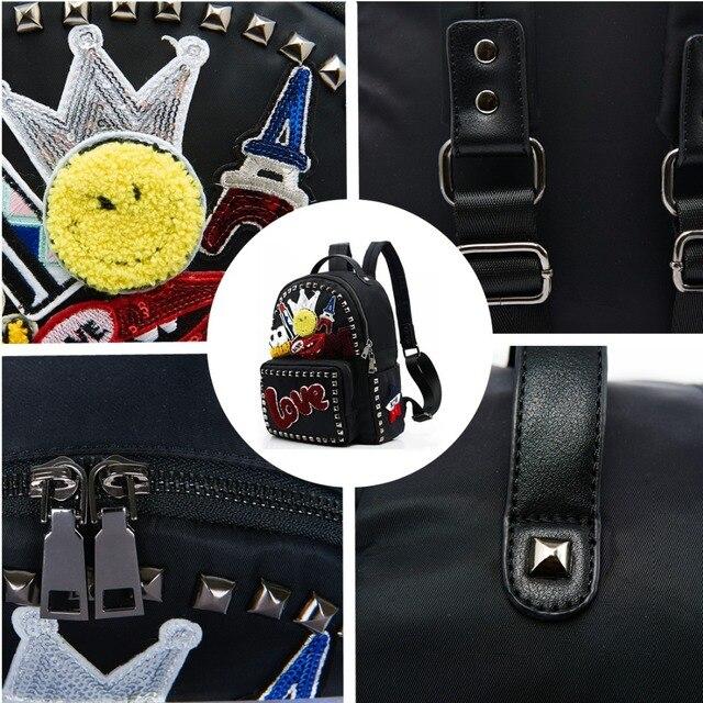 AMELIE GALANTI Women Bag Backpack Nylon Fabric Fashion School Bag Backpack for Teenager Big Capacity Appliques Letter Female Bag Fashion Backpacks