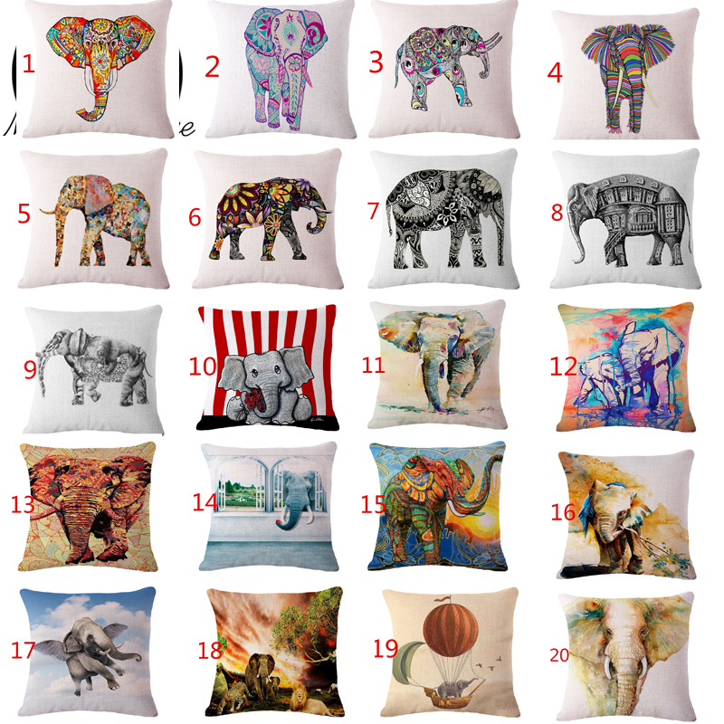 Colorful Elephant Cushion Covers Retro Throw Pillow Covers Decorative Cotton Linen For Sofa Car Seat Office Chair Beige Products