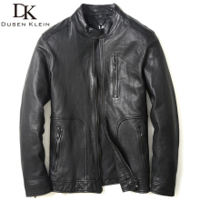 2016 New Dusen Klein Genuine Leather Jacket Autumn Outerwear Black/Slim/Simple Business Style/Sheepskin Coat 61U8135
