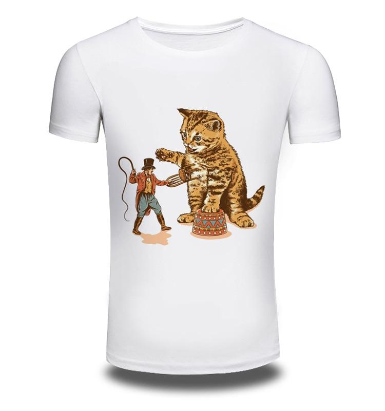 Men/Women Summer Fashion Short Sleeve Brand Clothing T Shirt 3D Print Shirt T-shirt Cat Animal White T-shirts Top Tee AW112