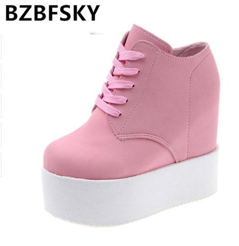 Wedge high heels zapatos mujer Platform Heels ladies Canvas Shoes chaussure femme women school valentine zapatos Casual Shoes12c 2018 wedge high heels thick soled high top ladies casual shoes women platform canvas shoes hidden wedge heel boots zapatos mujer