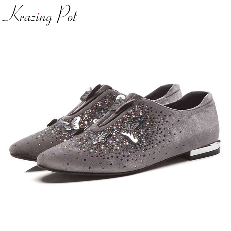 Krazing pot velvet brand shoes low heels slip on woman round toe butterfly knot buckle diamond studded wedding Autumn shoes L11