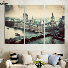 (No Frame)City building and Bridge 3 Panels/Set Large HD Picture Canvas Print Painting Artwork Wall Decorative Oil painting F303