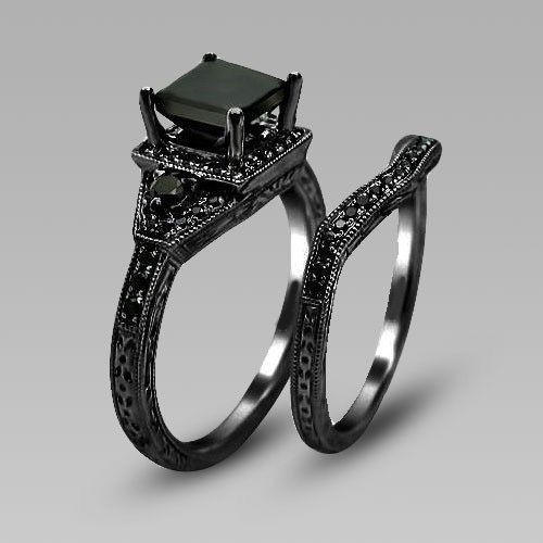Full Black Zircon Prong Black Gold Filled Womens Wedding Ring Set