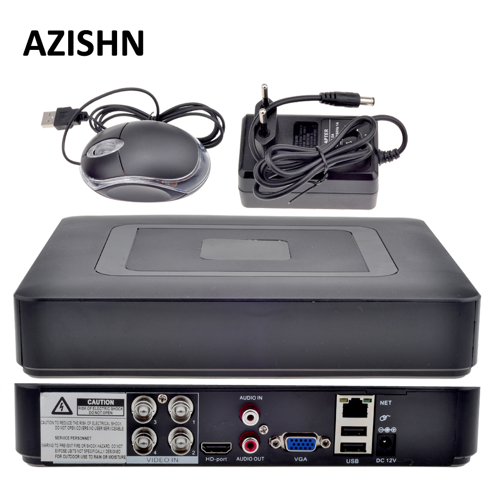 AZISHN 4CH AHD DVR AHDNH 1080N DVR Surveillance 5 IN 1 AHDM TVI CVI CVBS 960H Mini Hybrid Security CCTV DVR HDMI DVR NVR dvr gp322