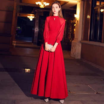 weiyin Red Elegant A Line Long Evening Dress 2019 New High Neck Long Sleeves Party Gown Bodice Vestido Longos WY1243 - Category 🛒 Weddings & Events