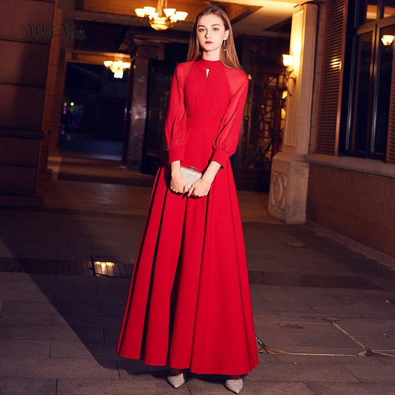Weiyin Red Elegant A Line Long Evening Dress 2020 New High Neck Long Sleeves Party Gown Bodice Vestido Longos WY1243