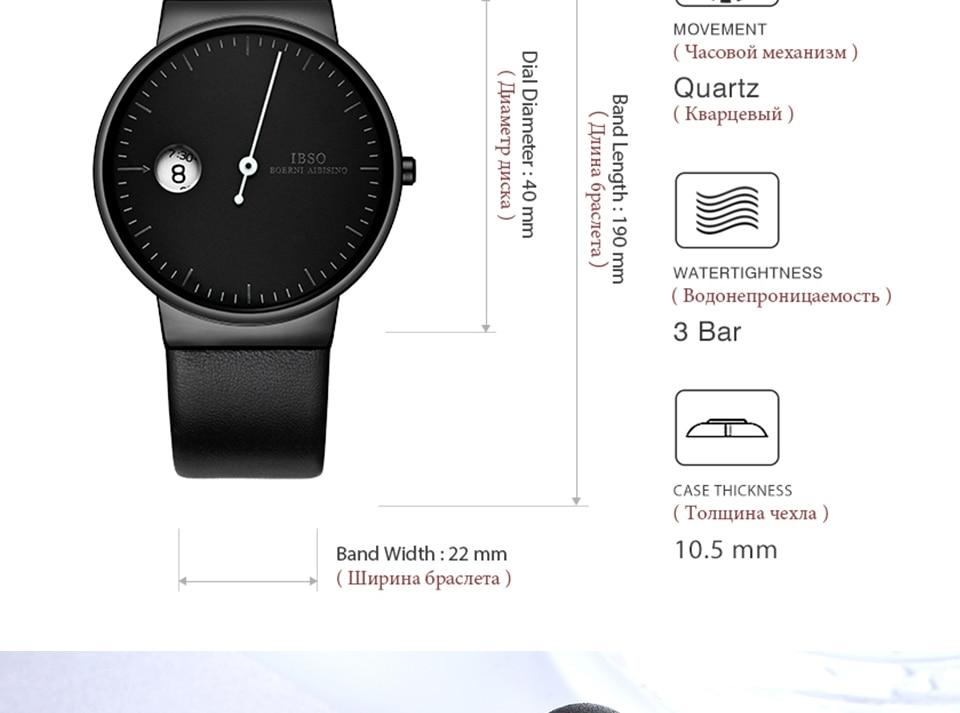 Ibso ultra fino relógio de quartzo masculino