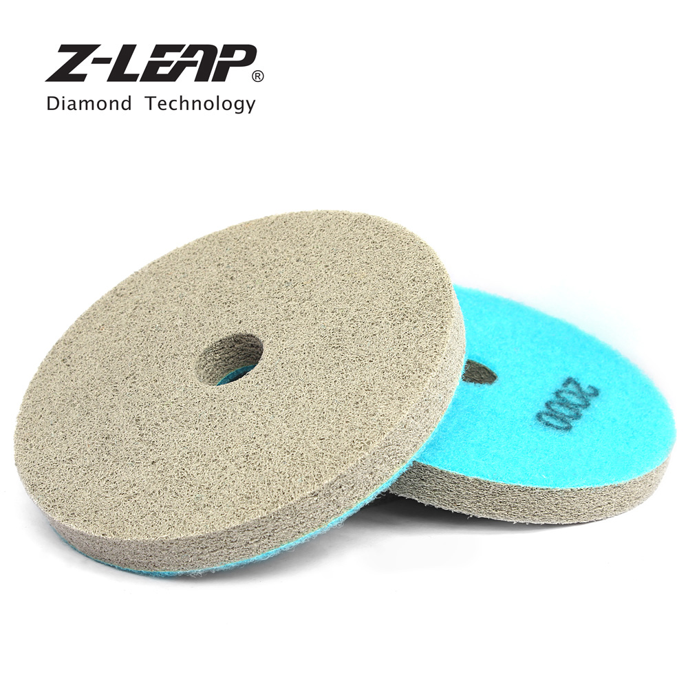 Z-LEAP 2pcs 125mm Sponge Diamond Polishing Pads 5 Inch Buff Disc For Marble Artificial Stone Concrete Floor Wet Cleaning Tool